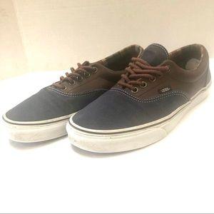 Vans vintage blue denim and leather sneakers